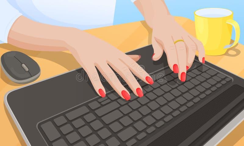 Mujer que mecanografía en el teclado, ejemplo del vector stock de ilustración