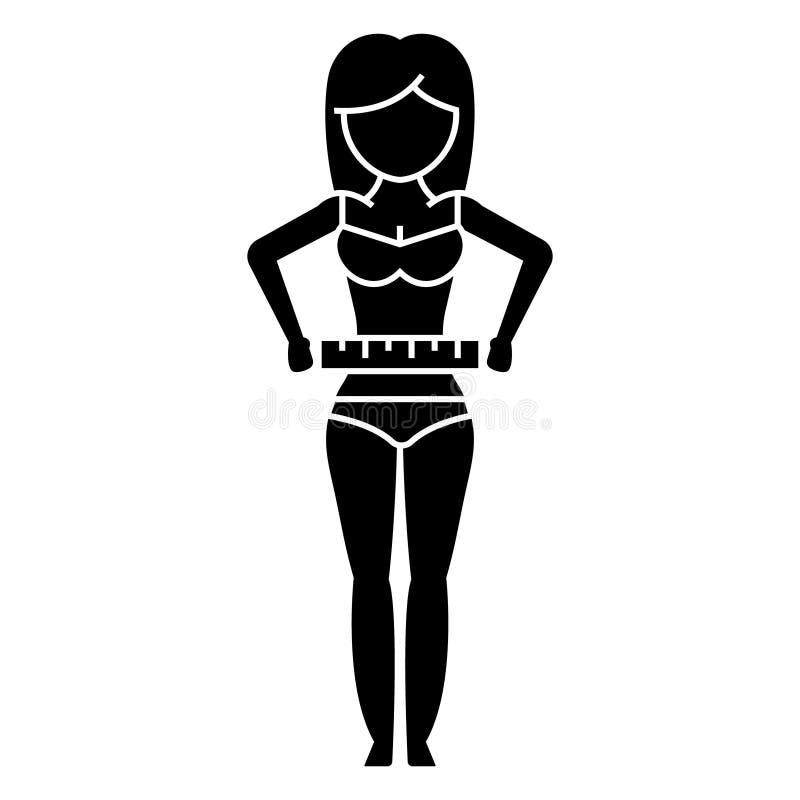 Mujer que mide su cintura - adiete el icono de la aptitud, ejemplo del vector, muestra negra en fondo aislado ilustración del vector