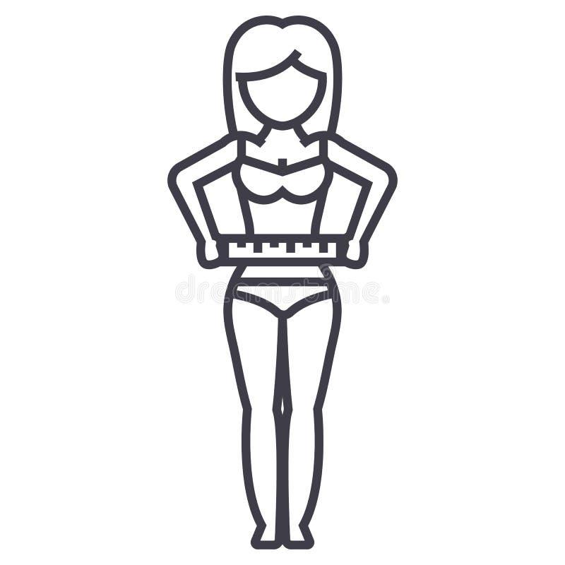 Mujer que mide su cintura, línea icono, muestra, ejemplo del vector de la aptitud de la dieta en el fondo, movimientos editable ilustración del vector