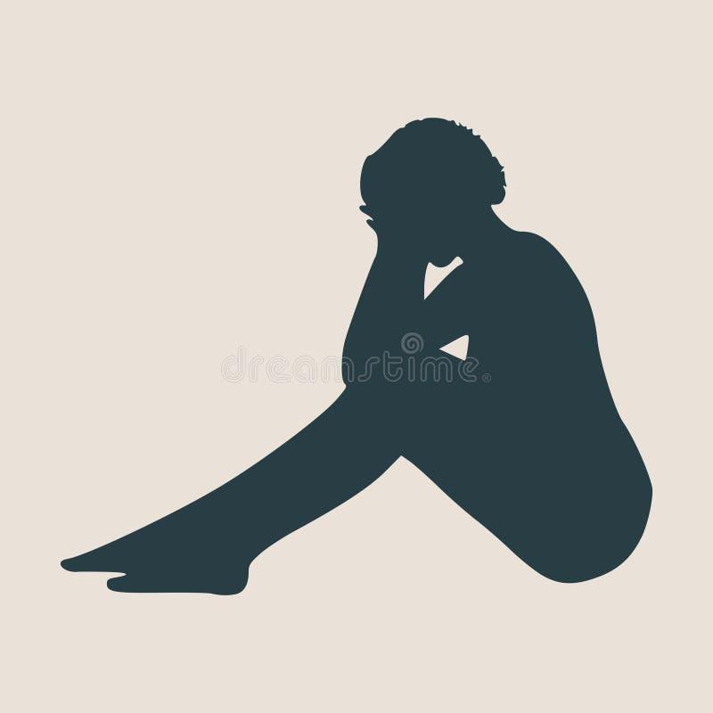 Mujer que miente en el piso aislado sobre un fondo blanco ilustración del vector