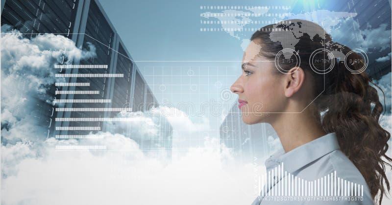 Mujer que mira adelante detrás de un interfaz en almacén de la nube stock de ilustración