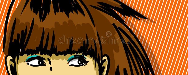 Mujer que mira a escondidas hacia fuera stock de ilustración