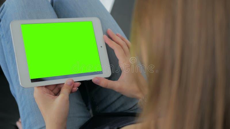 Mujer que mira la tableta con la pantalla verde fotos de archivo
