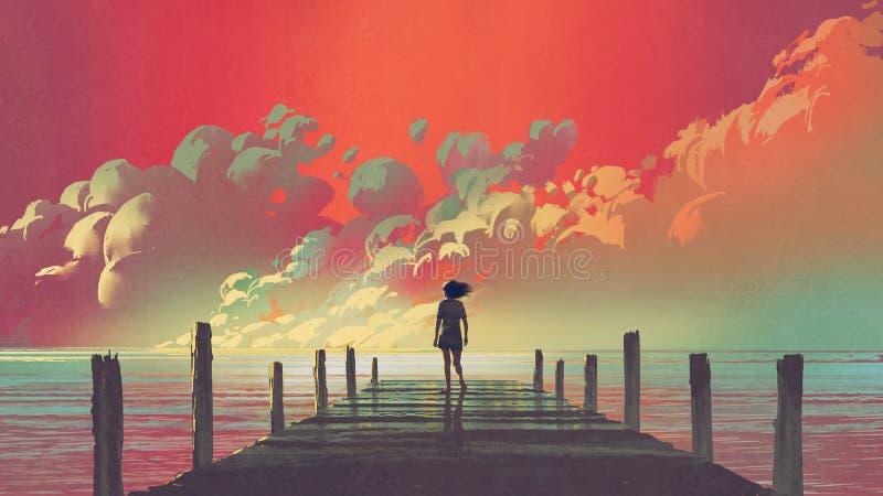 Mujer que mira las nubes coloridas en el cielo libre illustration