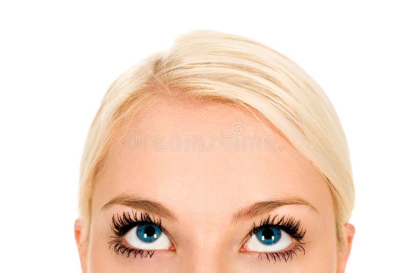 Mujer que mira para arriba imagen de archivo
