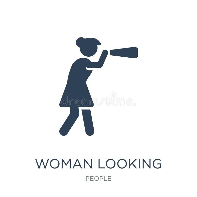 mujer que mira por un icono del catalejo en estilo de moda del diseño mujer que mira por un icono del catalejo aislado en el fond ilustración del vector