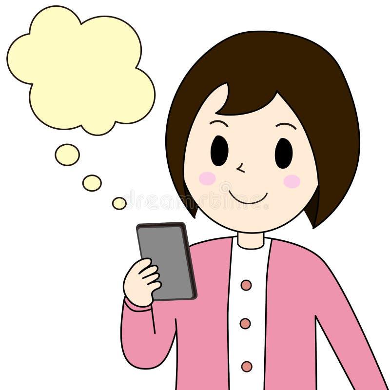 Mujer que mira un teléfono elegante imagen de archivo