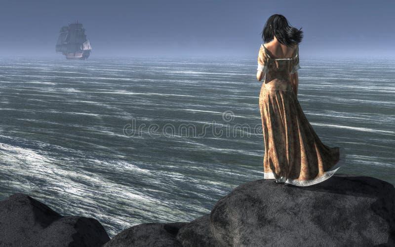 Mujer que mira una nave el navegar lejos stock de ilustración