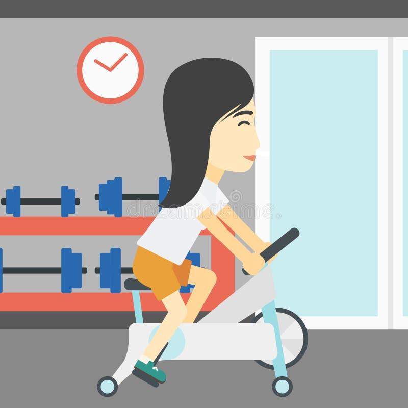 Mujer que monta la bicicleta inmóvil libre illustration