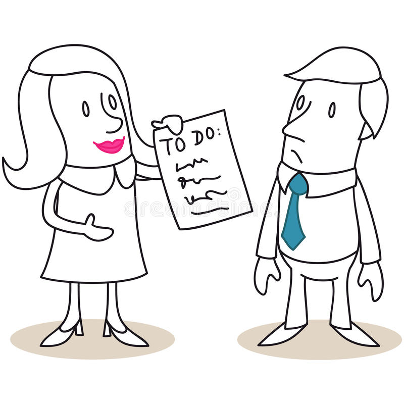 Mujer que muestra la lista de lío al hombre ilustración del vector