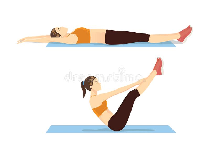 Mujer que muestra paso del entrenamiento abdominal con el ejercicio de v-UPS ilustración del vector
