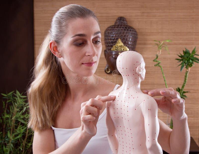 Mujer que muestra puntos de la acupuntura fotografía de archivo libre de regalías