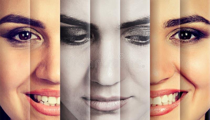 Mujer que oculta la emoción real que parece feliz imágenes de archivo libres de regalías