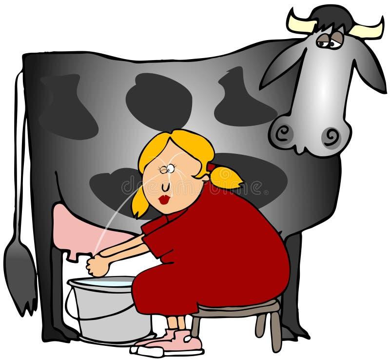 Mujer que ordeña una vaca libre illustration