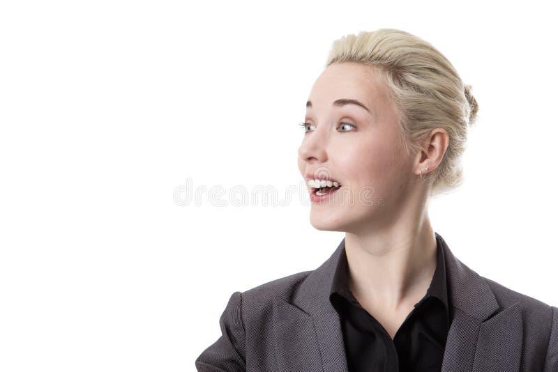 Mujer que parece sorprendida foto de archivo