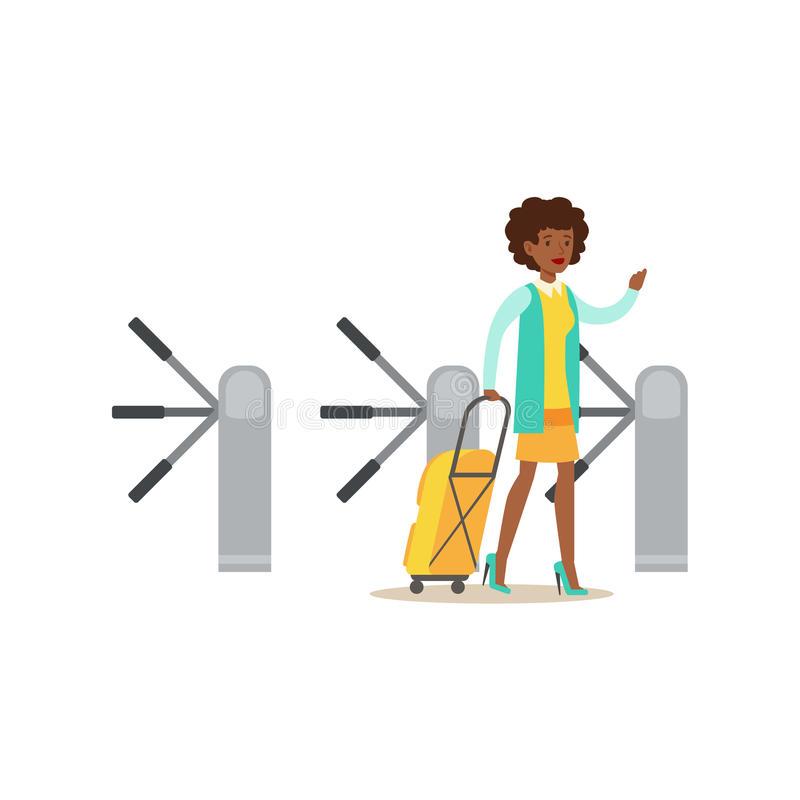 Mujer que pasa el torniquete con la maleta, la parte del aeropuerto y la serie relacionada de las escenas del transporte aéreo de stock de ilustración