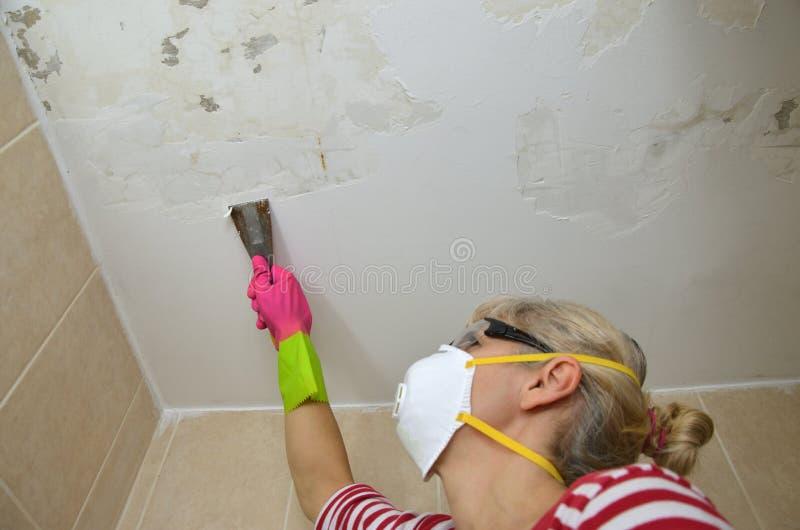 Mujer que pela un techo foto de archivo