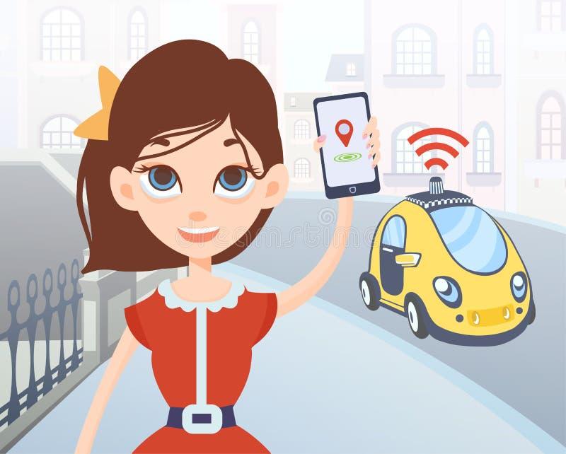 Mujer que pide el taxi driverless usando la aplicación móvil Carácter femenino de la historieta con smartphone y coche en la call libre illustration