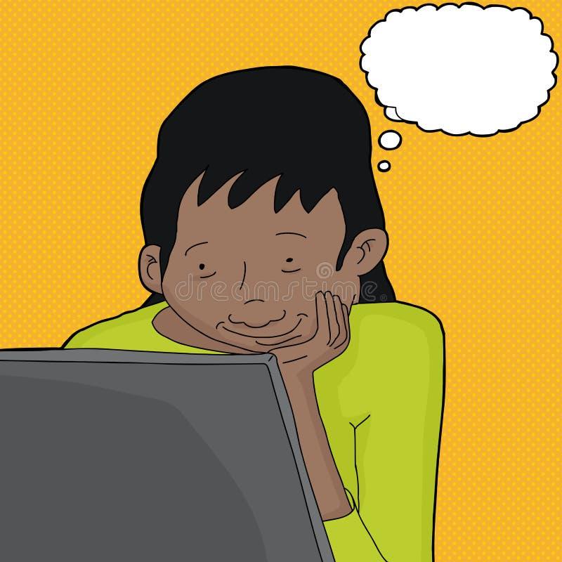 Mujer que piensa y que mira el ordenador portátil stock de ilustración
