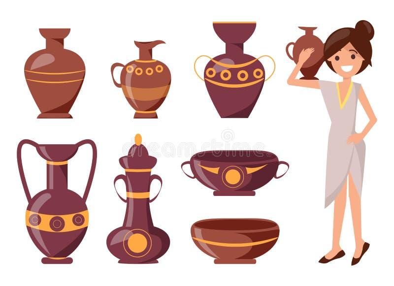 Mujer que presenta con Clay Vase Vector Illustration stock de ilustración