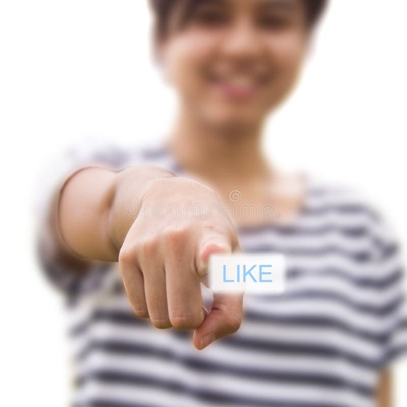 Mujer que presiona como el botón imágenes de archivo libres de regalías