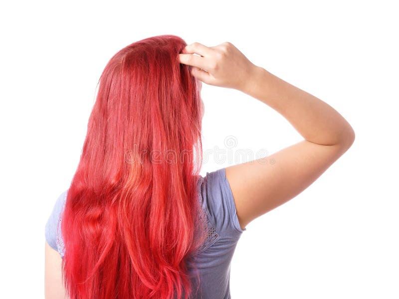 Mujer que rasguña su cabeza fotos de archivo