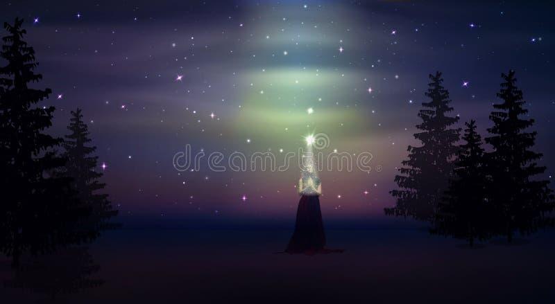 Mujer que ruega solamente en el bosque, cielo nocturno mágico libre illustration