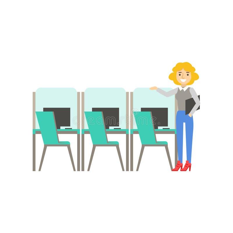 Mujer que se coloca al lado del sistema de cubículos similares, Coworking en atmósfera informal en la oficina conceptora moderna  stock de ilustración