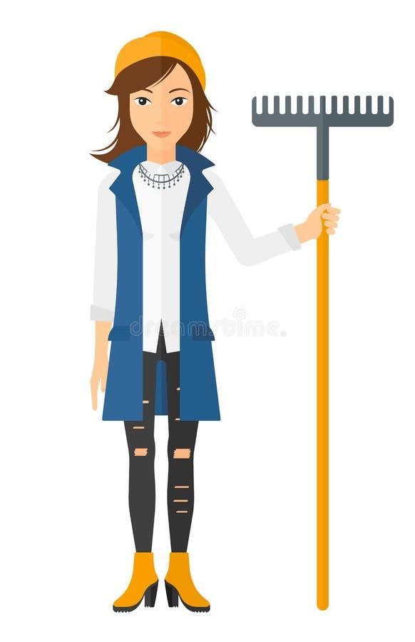 Mujer que se coloca con el rastrillo libre illustration