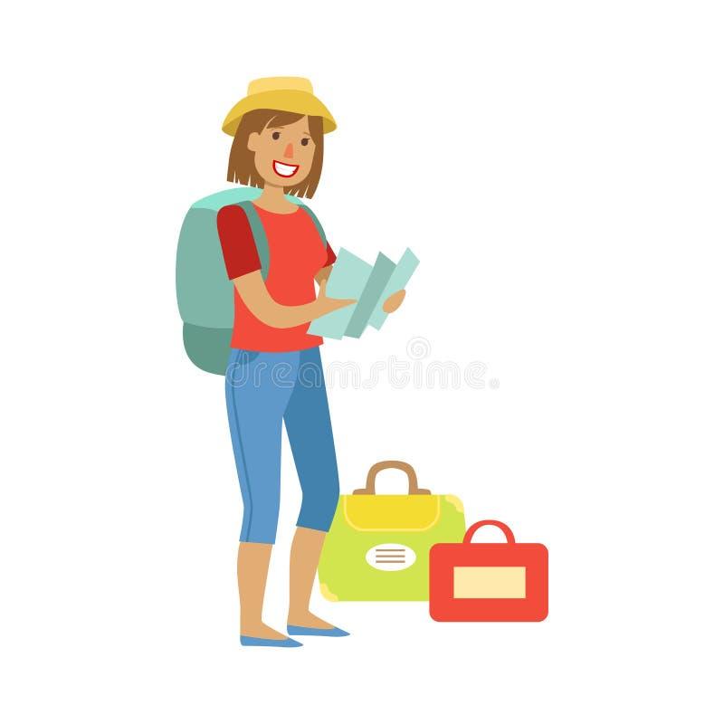 Mujer que se coloca con la mochila y los bolsos que viajan, sosteniendo el mapa en sus manos Personaje de dibujos animados colori stock de ilustración