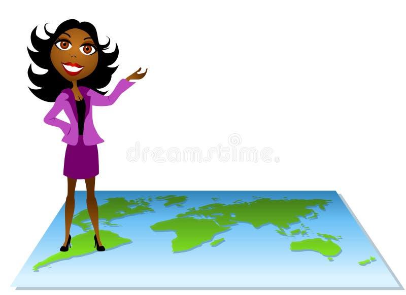 Mujer que se coloca en la correspondencia 2 stock de ilustración