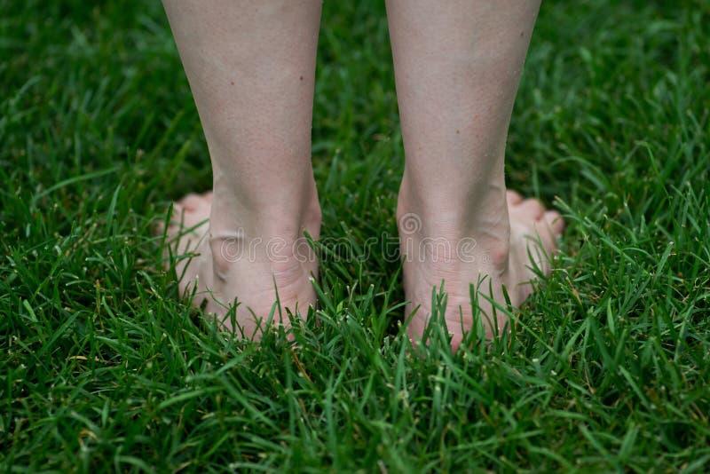 Mujer que se coloca en la hierba con los pies desnudos El recorrer descalzo foto de archivo