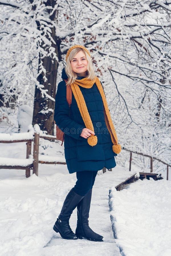 Mujer que se coloca en nieve imagen de archivo