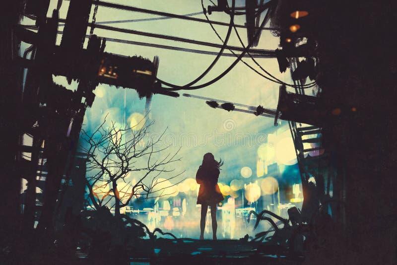 Mujer que se coloca entre las ruinas viejas que miran afuera libre illustration