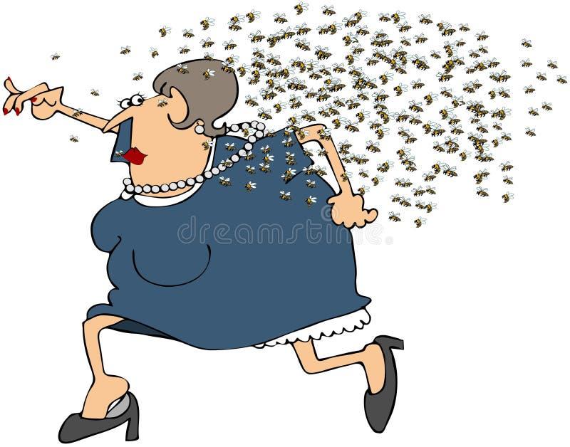 Mujer que se ejecuta de un enjambre de abejas ilustración del vector