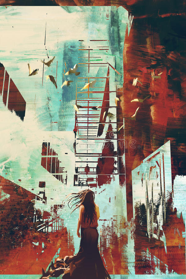 Mujer que se opone a achitecture abstracto con textura del grunge libre illustration