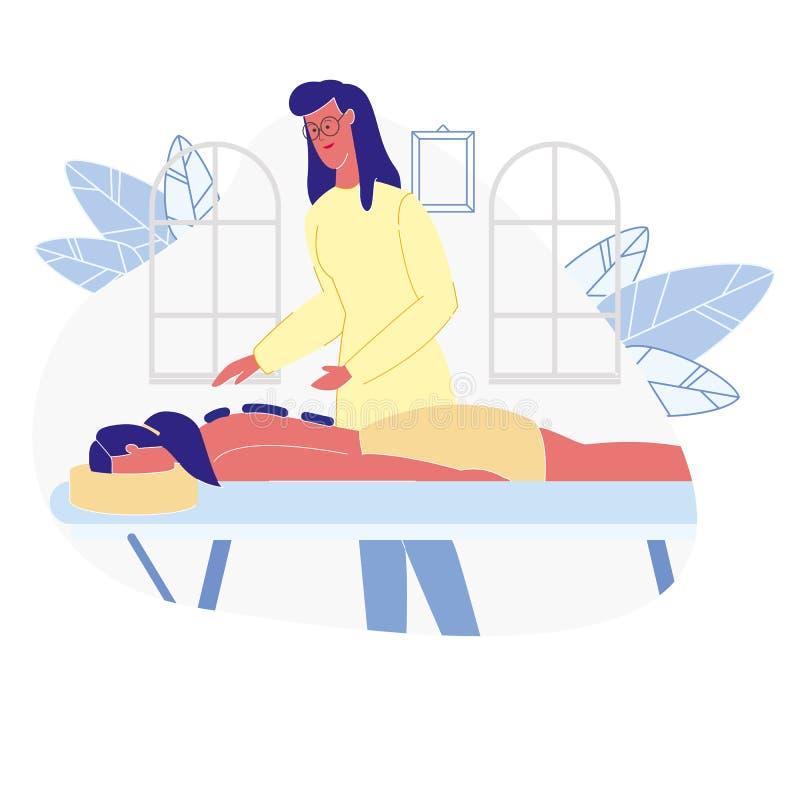 Mujer que se relaja en el ejemplo plano del vector del BALNEARIO ilustración del vector
