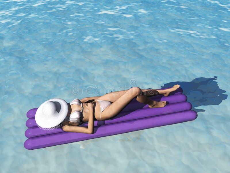 Mujer que se relaja en piscina. libre illustration