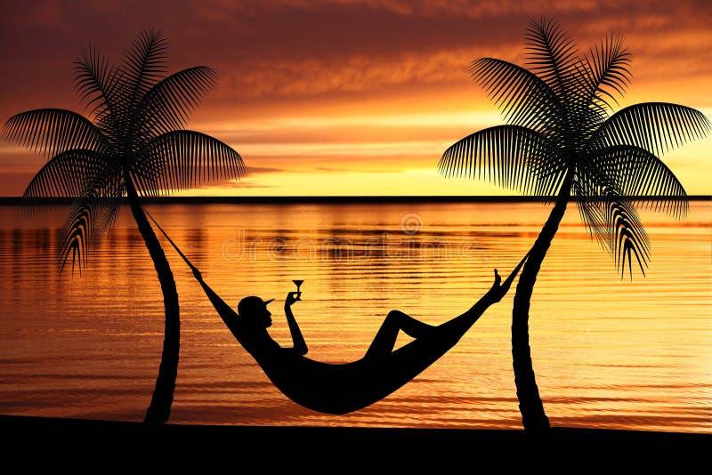 Mujer que se relaja en una hamaca libre illustration