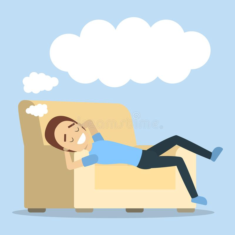 Mujer que se relaja y que sueña stock de ilustración