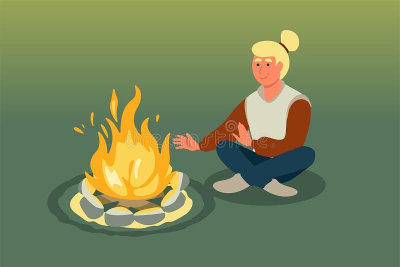 Mujer que se sienta cerca del ejemplo del vector de la hoguera ilustración del vector