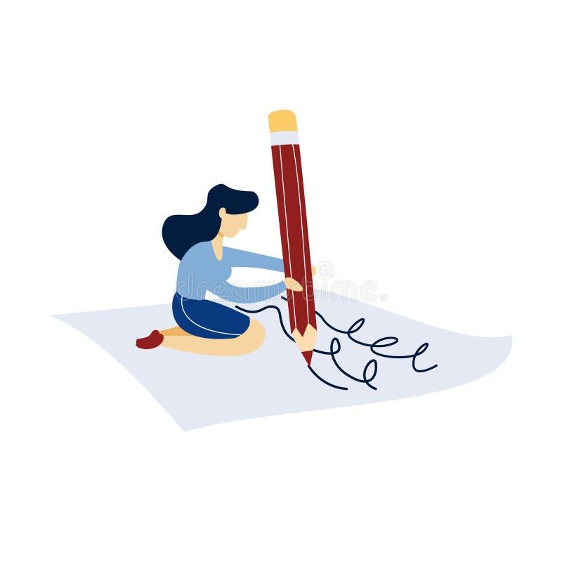 Mujer que se sienta con el lápiz en la hoja de papel ilustración del vector