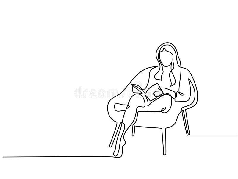 Mujer que se sienta con el libro en silla ilustración del vector