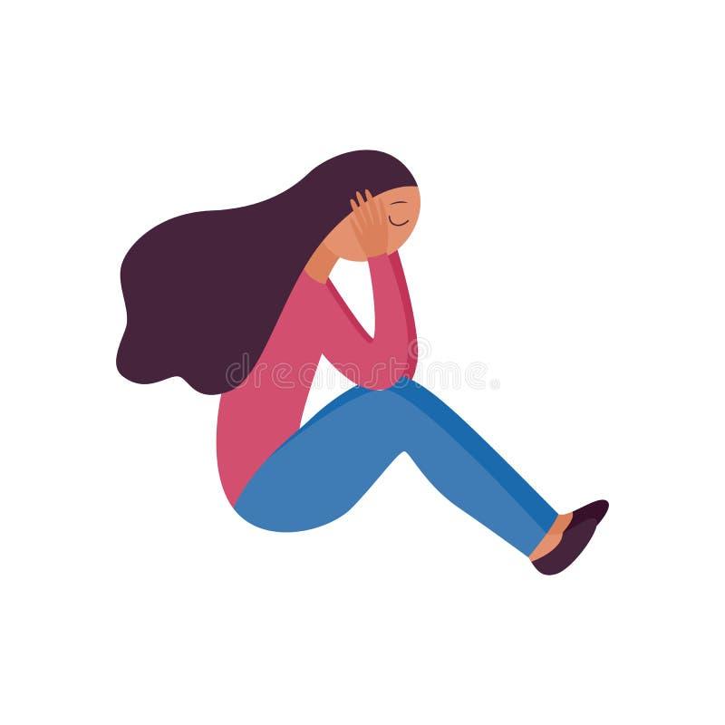 Mujer que se sienta con sus piernas remetidas y que lleva a cabo su estilo plano de la historieta de la cabeza libre illustration