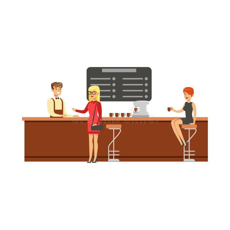 Mujer que se sienta en el contador en silla de la barra en el café de consumición de la cafetería mientras que otro cliente está  stock de ilustración