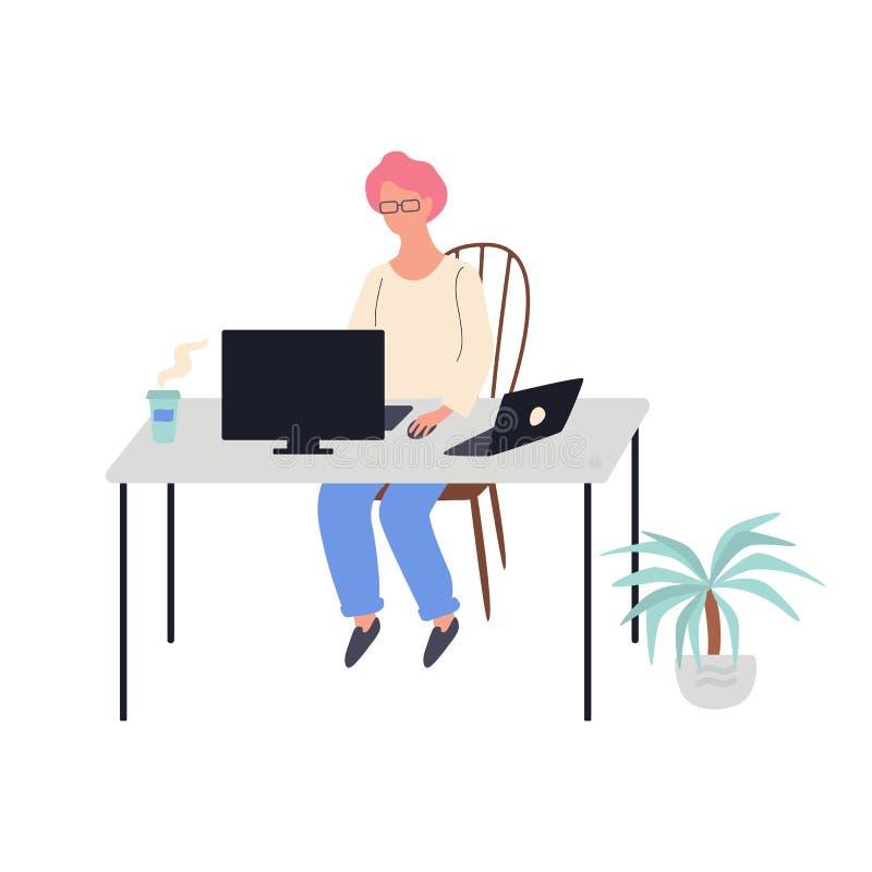 Mujer que se sienta en el escritorio y que trabaja en el ordenador libre illustration