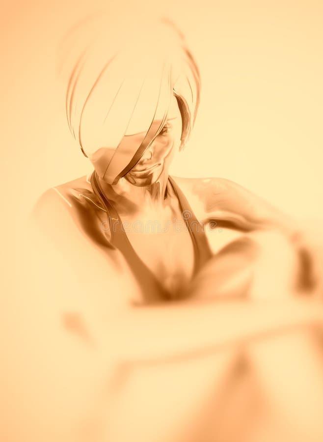 Mujer que se sienta en el suelo stock de ilustración
