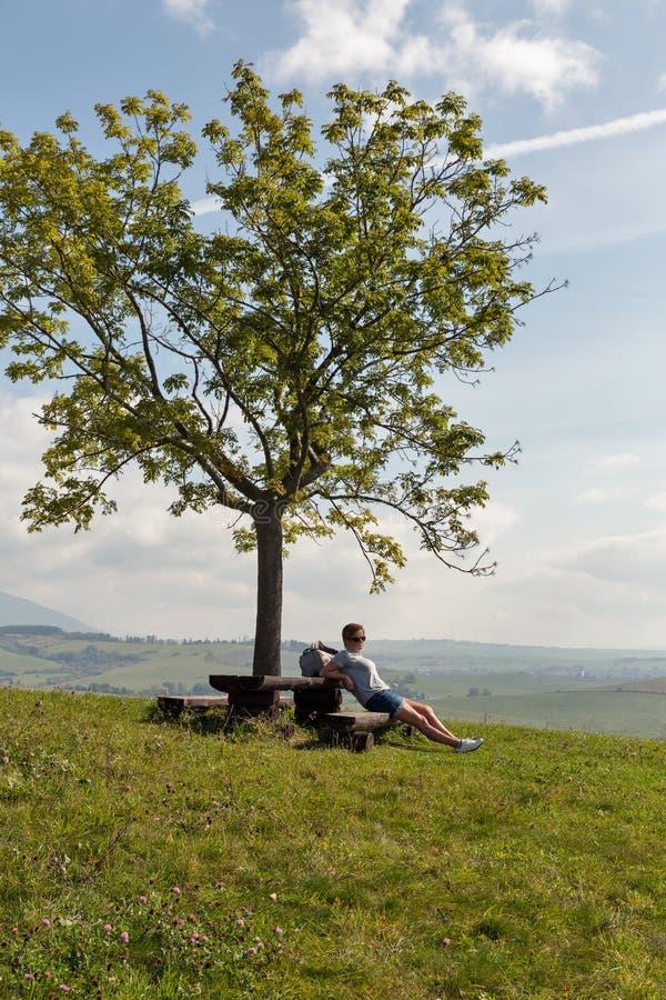 Mujer que se sienta en la colina del verano cerca de Liptovsky Trnovec, Eslovaquia fotos de archivo libres de regalías