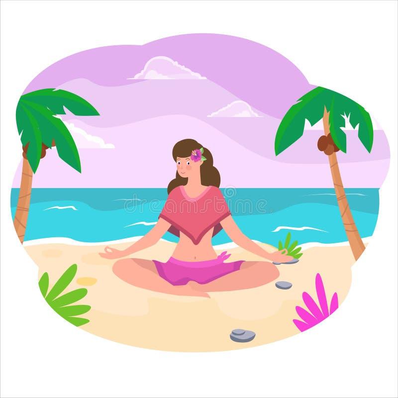 Mujer que se sienta en la playa en actitud de la yoga en puesta del sol stock de ilustración