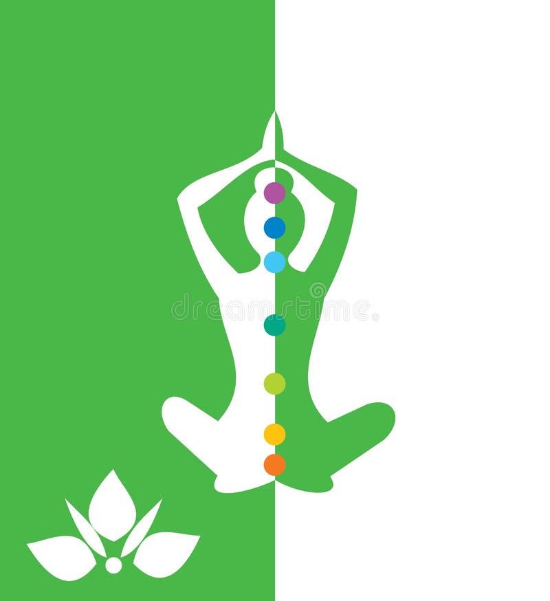 Mujer que se sienta en la posición de la yoga, loto - vector el ejemplo ilustración del vector